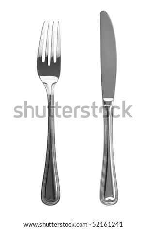 Knife and fork isolated - stock photo