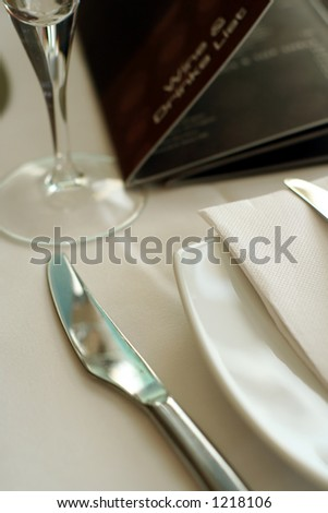 knife and napkin - stock photo