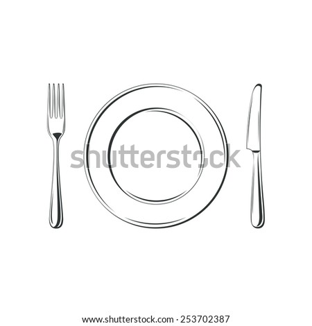 Knife, fork and plate, isolated on white background. Simple Icon - stock photo