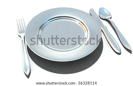 knife, fork, spoon and plate - isolated 3d render - stock photo