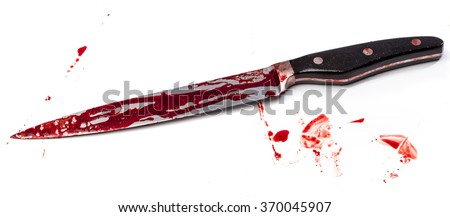 Knife in blood on white background - stock photo