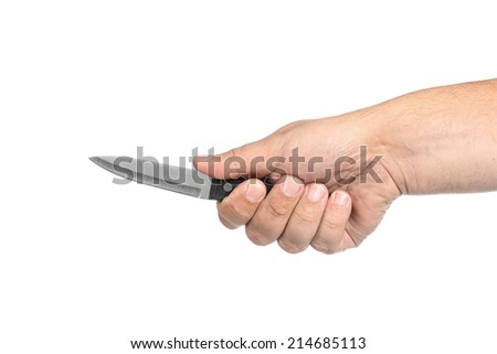 knife in hand on a white background - stock photo