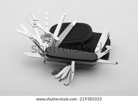 Knife multi-tool, isolated on white background - stock photo