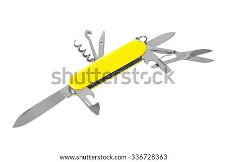 Knife multitool isolated on white background - stock photo