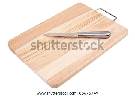 Knife on the surface of a isolated wooden board against a white background. - stock photo