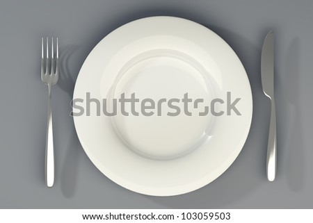 Knife, white plate and fork High resolution 3d - stock photo