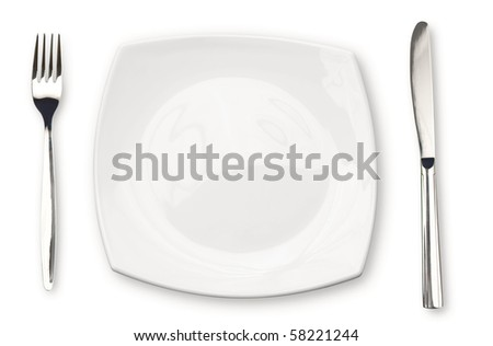 Knife, white plate and fork isolated - stock photo