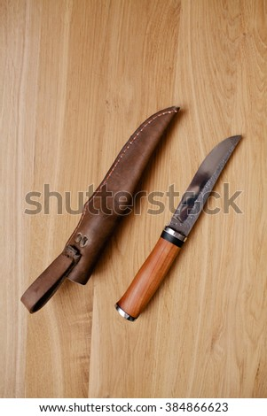 Knife with the wooden handle and a leather sheath - stock photo
