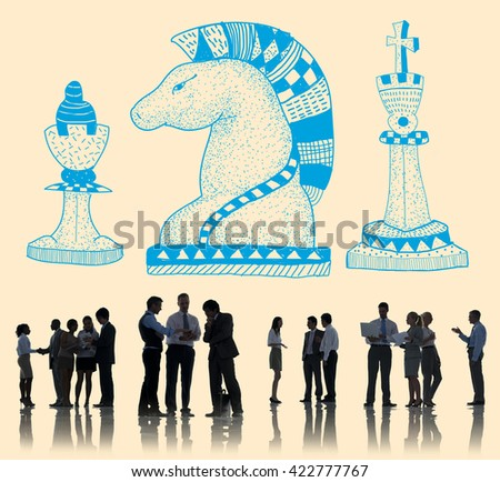 Knight Chess Piece Strategy Graphic Concept - stock photo