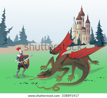 Knight fighting Dragon. Medieval Knight fighting Dragon to save the Princess locked in the Castle. Illustration based on Traditional Fairy Tales.  - stock photo