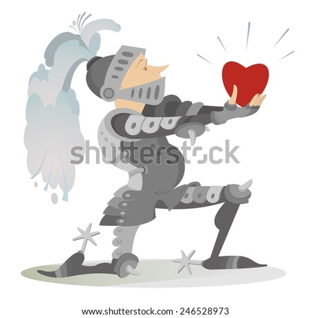 Knight gives the heart to his fiancee - stock photo