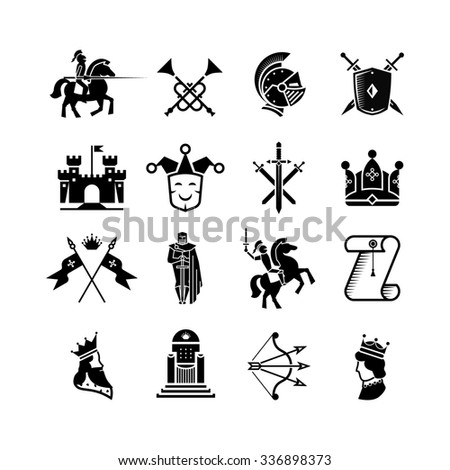 Knight medieval history icons - stock photo