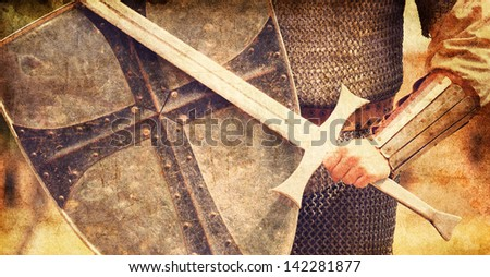 Knight. Photo in vintage color style. - stock photo
