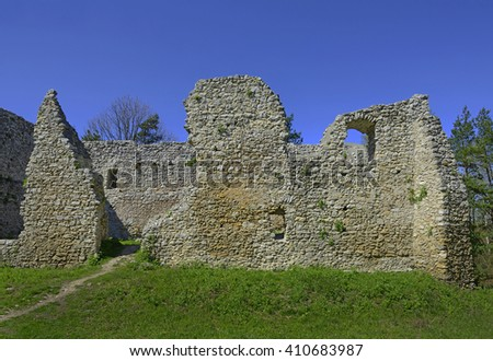 Knight's castle Bydlin from XIV. century. Castle ruins lying on the Krakow-Czestochowa Jura. It belongs to castles end fortresses: Eagles' Nests Trail near Krakow - stock photo