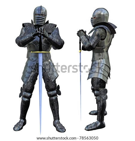Knight Swordsman in Full Armour, 3D render - stock photo