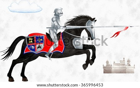Knight with a spear on black horse   - stock photo