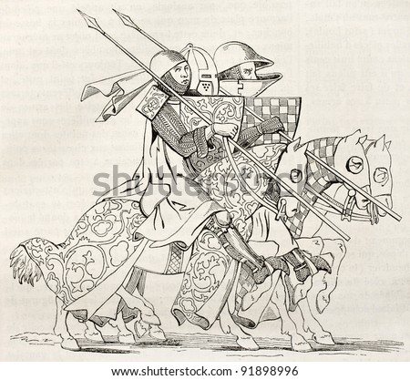 Knights going to a tourney. After 14th century manuscript, published on Magasin Pittoresque, Paris, 1845 - stock photo