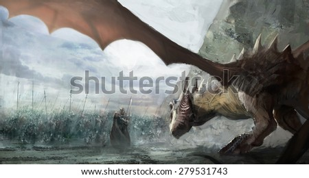 knights hunting dragon on field - stock photo