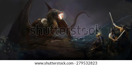 knights hunting dragon on field night - stock photo