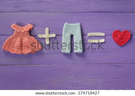 Knitted Crochet Dress Plus Trousers Equals True Love.Valentine's Day. - stock photo