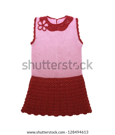 Knitted  dress  for  little girl isolated on a white background - stock photo