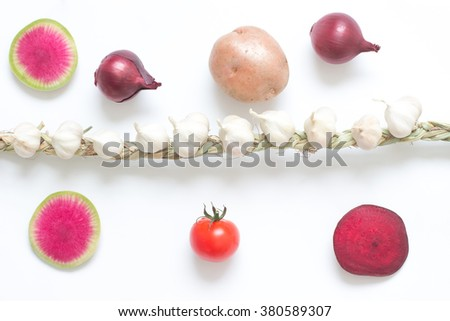 Knitted garlic, slice radish, slice beets, twig red tomatoes and potatoes on white - stock photo