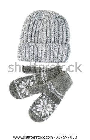 Knitted gloves and hat set. Isolate on white. - stock photo