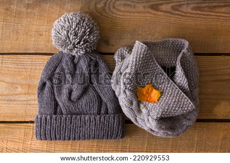 Knitted hat and autumn leaf - stock photo