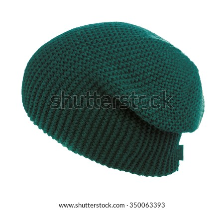 knitted hat isolated on white background .green. - stock photo