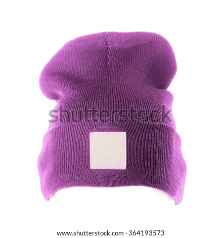 knitted hat isolated on white background .purple. - stock photo