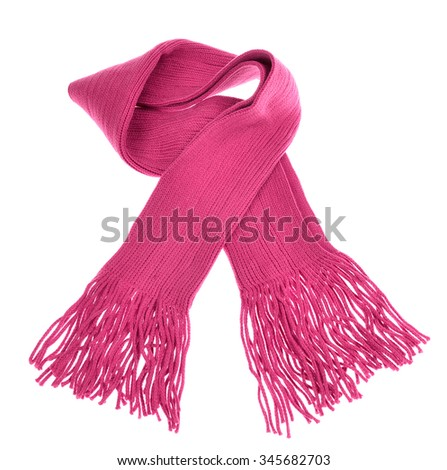 knitted pink scarf with fringe on white background - stock photo