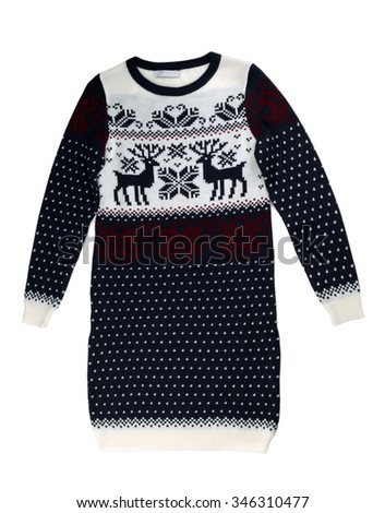 Knitted sweater dress with a pattern of deer. Isolate on white. - stock photo