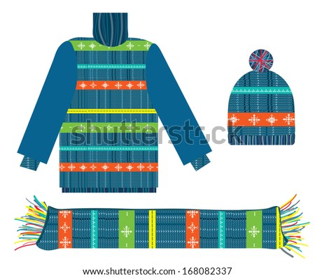 Knitted sweater, scarf and hat for Christmas collection  - stock photo