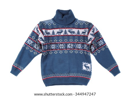 Knitted sweater with a pattern deer. Isolate on white. - stock photo