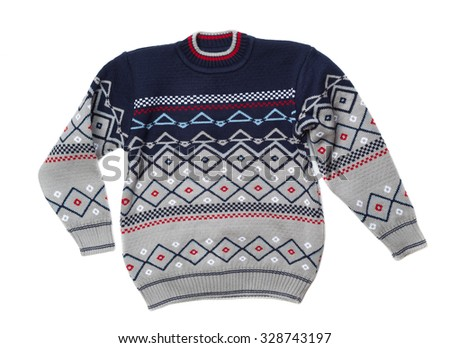Knitted sweater with a pattern. Isolate on white. - stock photo
