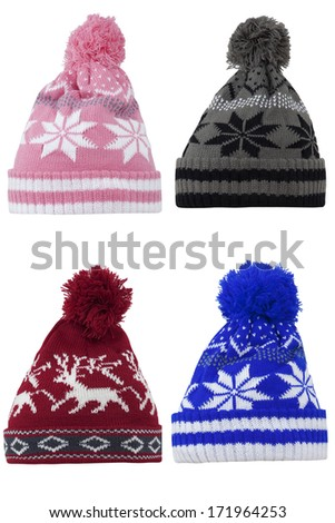 knitted wool hat isolated on white background - stock photo
