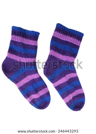 Knitted woolen socks, blue and purple striped isolated on white       - stock photo