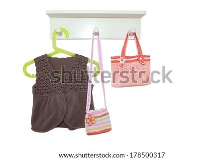 knitting vest and handbags  isolated on white background  - stock photo