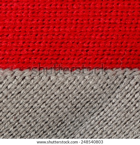 knitting wool gray red background - stock photo
