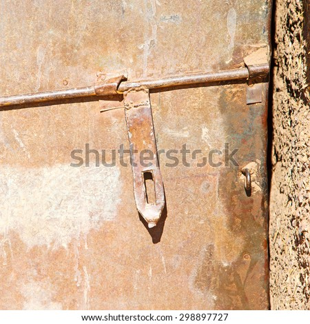 knocker in morocco africa old and history - stock photo