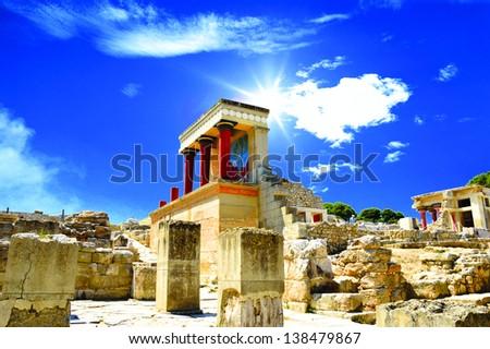 Knossos palace at Crete, Greece Knossos Palace - stock photo