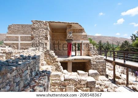 Knossos palace on the island of Crete, Greece. - stock photo