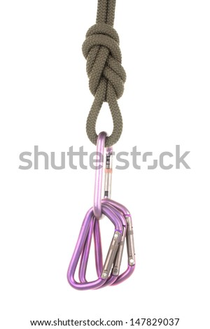 knot of the rope, carabiner  isolated on white background - stock photo