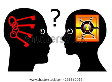 Know the Female Psyche. Concept sign of a man rising psychological questions about the secrets of women - stock photo