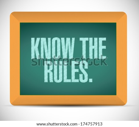 know the rules illustration design over a white background - stock photo