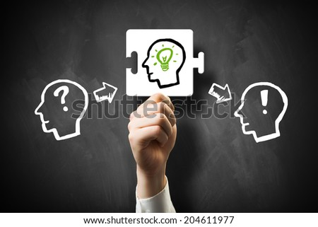 Knowledge creation process with the idea as the missing piece - stock photo