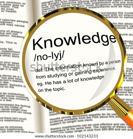 Knowledge Definition Magnifier Shows Information Intelligence And Education - stock photo