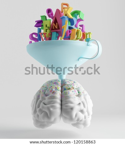 knowledge is poured through a funnel into the brain - stock photo