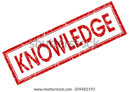 Knowledge red square grungy stamp isolated on white background - stock photo