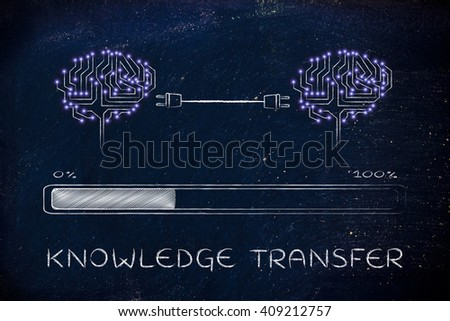 knowledge transfer: electronic circuit brains connected by plugs exchanging information with progress bar loading - stock photo